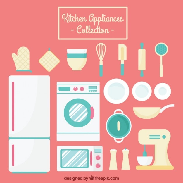 Appliances and kitchen tools collection Free Vector