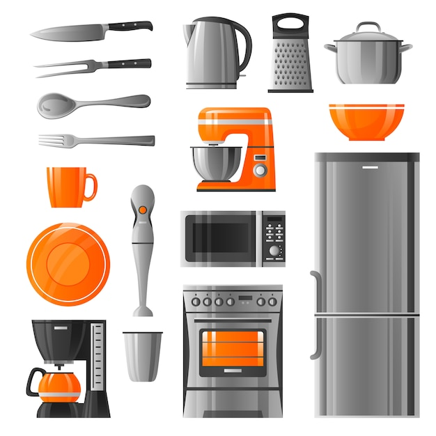 Appliances and kitchen utensil icons set Free Vector