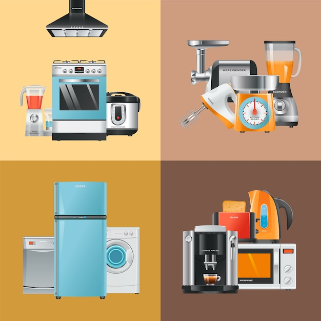 Appliances realistic. home electrical equipment refrigerator washing machine microwave blender mixer hood gas stove  collection Premium Vector