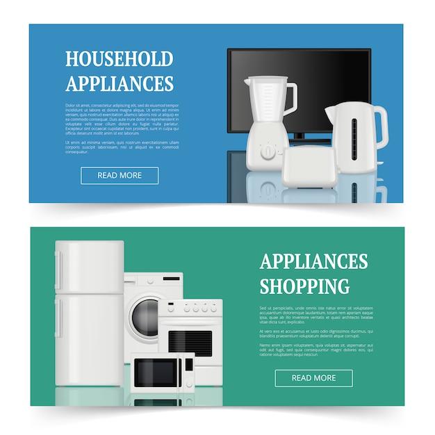 Магазины техники. рекламные баннеры бытовых электроприборов кухонные принадлежности реалистичные шаблон баннеров Premium векторы