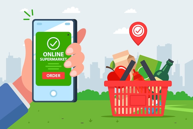 Application for the delivery of products. fast and convenient online grocery store. hand with a mobile phone pays for the order. Premium Vector