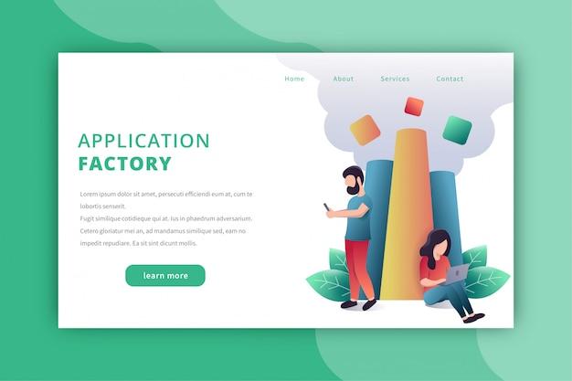 Application developer landing page Premium Vector
