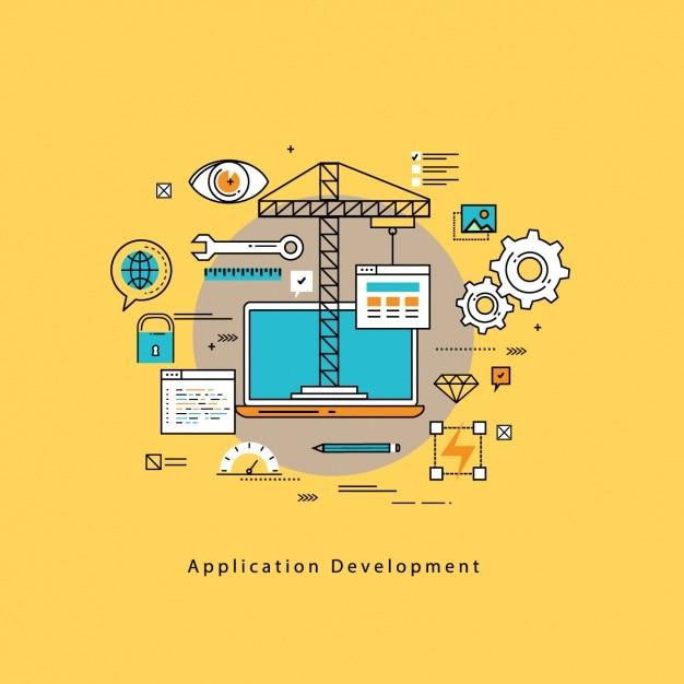 Sfondo lo sviluppo di applicazioni Vettore gratuito