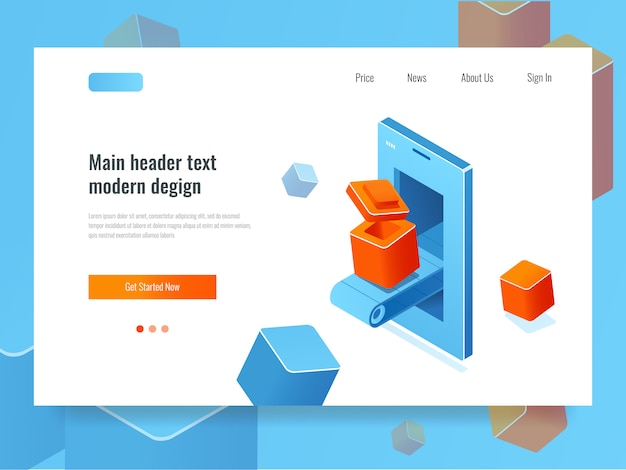 Application development, banner with mobile phone and conveyor line Free Vector