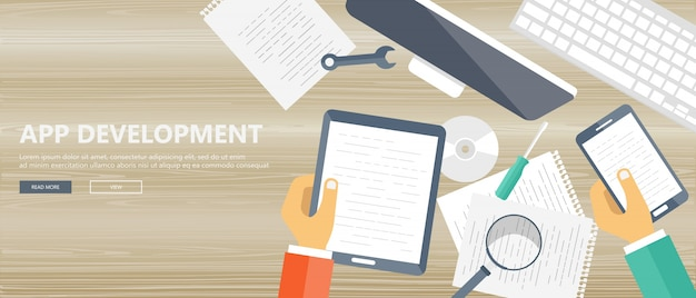 Application development banner Free Vector