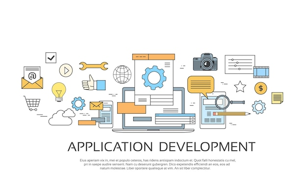 Application development create design Premium Vector