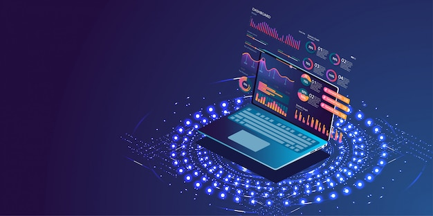 Application of laptop with business graph Premium Vector
