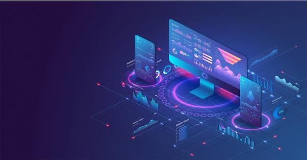 ビジネスグラフと分析データを使用したpcと電話のアプリケーション。 Premiumベクター