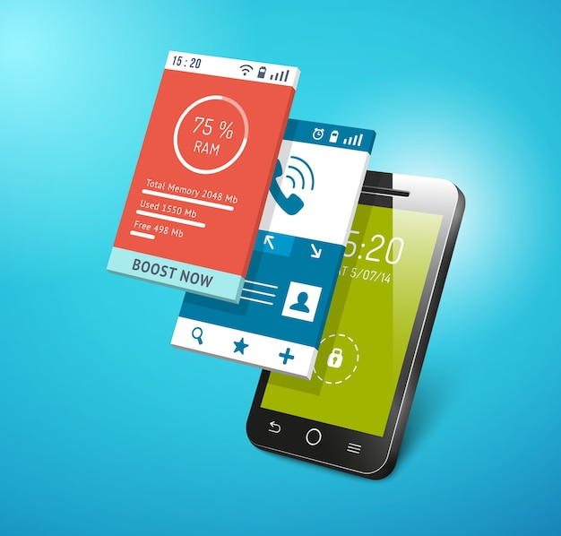Application on smartphone screen. different apps interfaces on display vector Free Vector