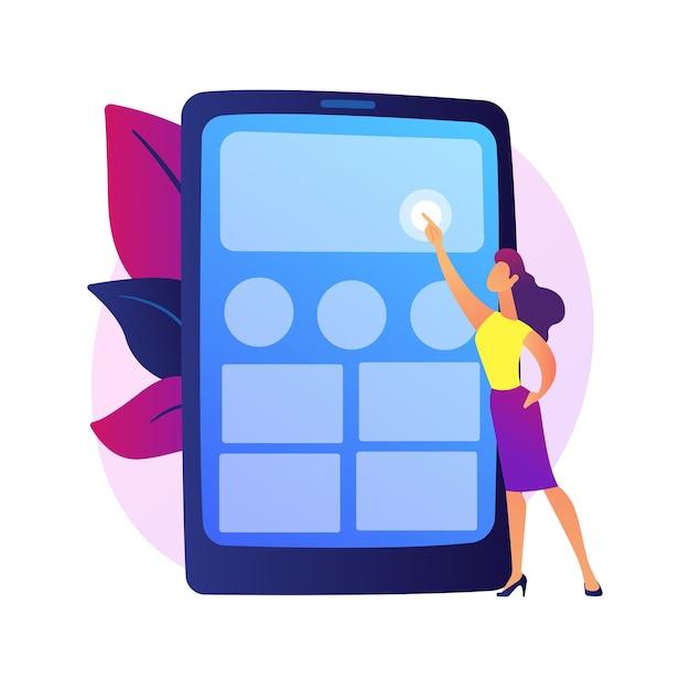 Test dell'applicazione. progettista ux, interfaccia smartphone, elettronica portatile. personaggio dei cartoni animati maschio che organizza app sullo schermo del telefono cellulare. Vettore gratuito