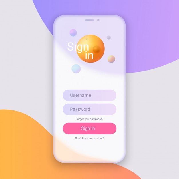 Application with registration form template Premium Vector