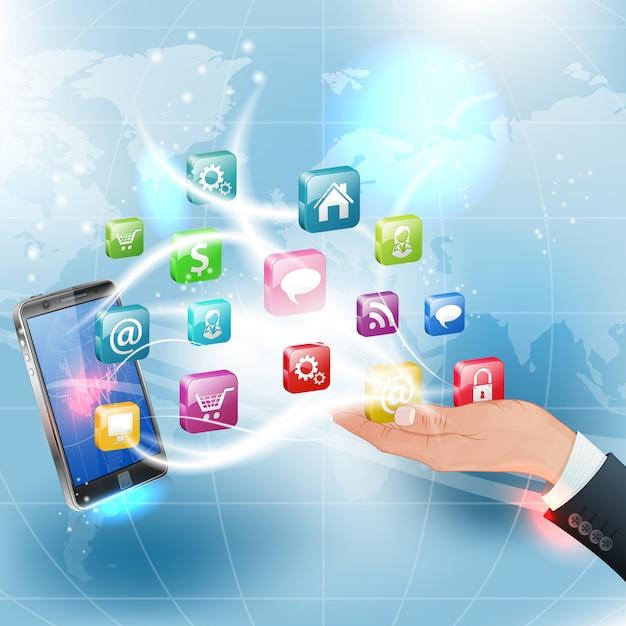 Applications for mobile platforms Premium Vector