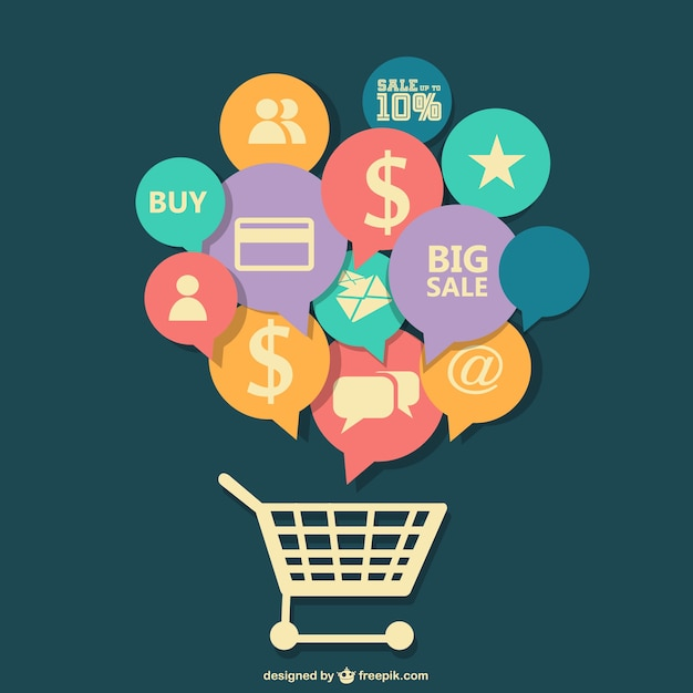 Applications speech bubbles in a shopping cart  Free Vector