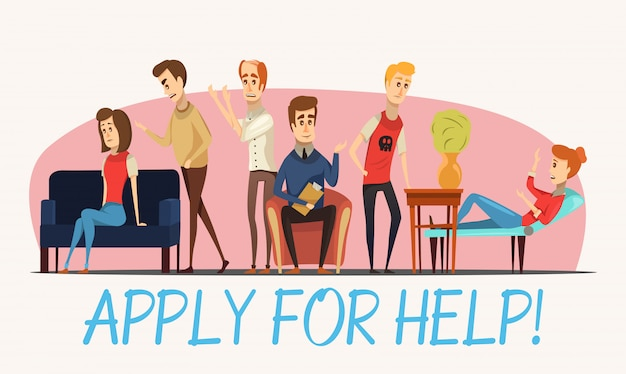 Apply for help to psychologist poster Free Vector