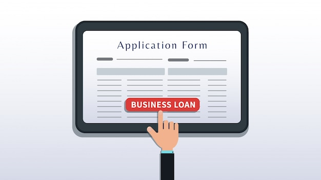 Apply for small business loan, application form on tablet or smartphone screen with hand click button isolated on white Premium Vector