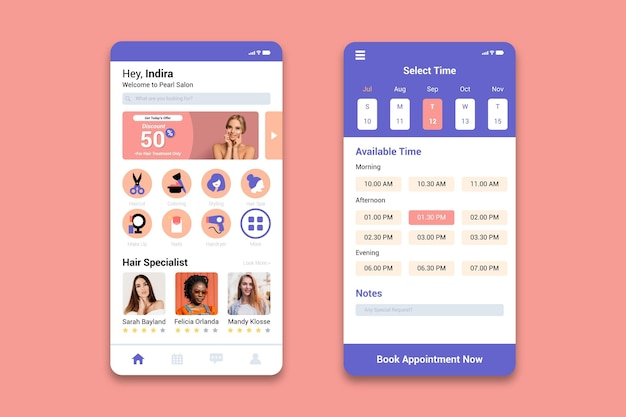 Appointment booking app for beauty salon Free Vector