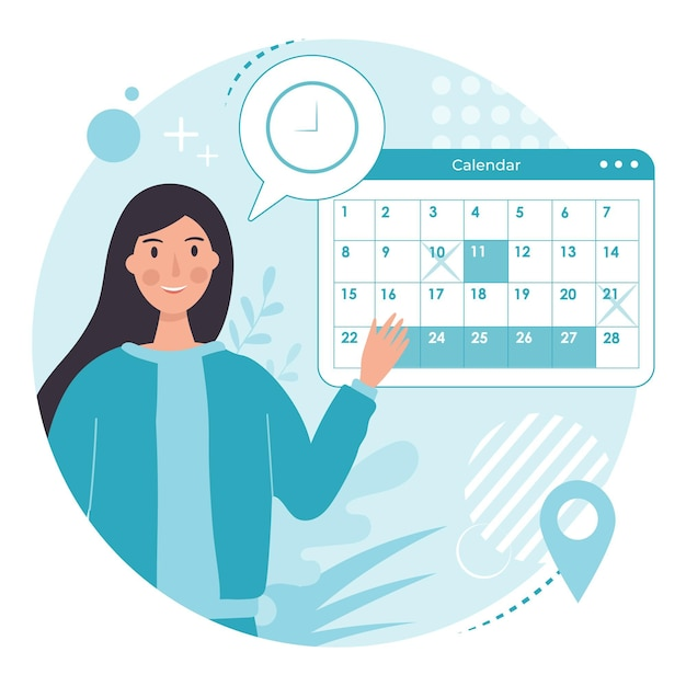 Appointment booking calendar design Free Vector