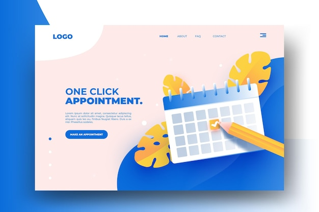 Appointment booking landing page design Free Vector