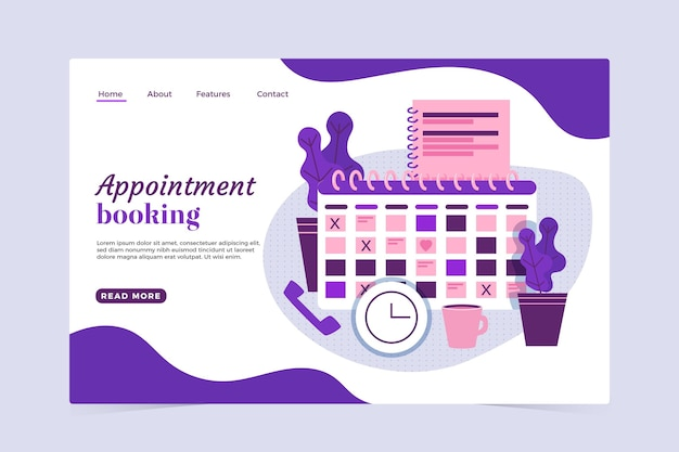 Appointment booking landing page template Free Vector