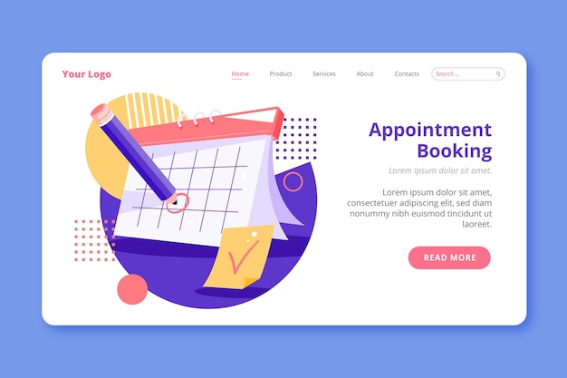 Appointment booking landing page Free Vector