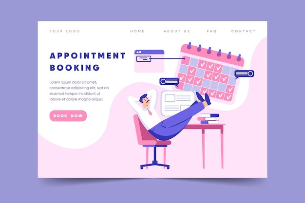 Appointment booking - landing page Free Vector