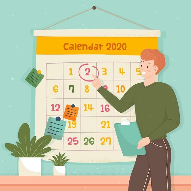 カレンダー形式の予約 Premiumベクター