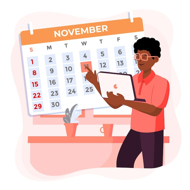 Appointment booking with calendar and man holding laptop Free Vector