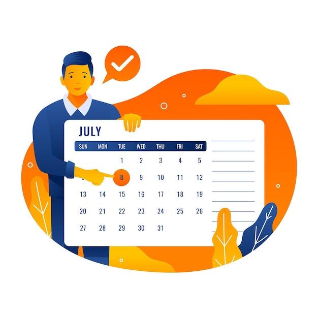 Appointment booking with calendar Free Vector