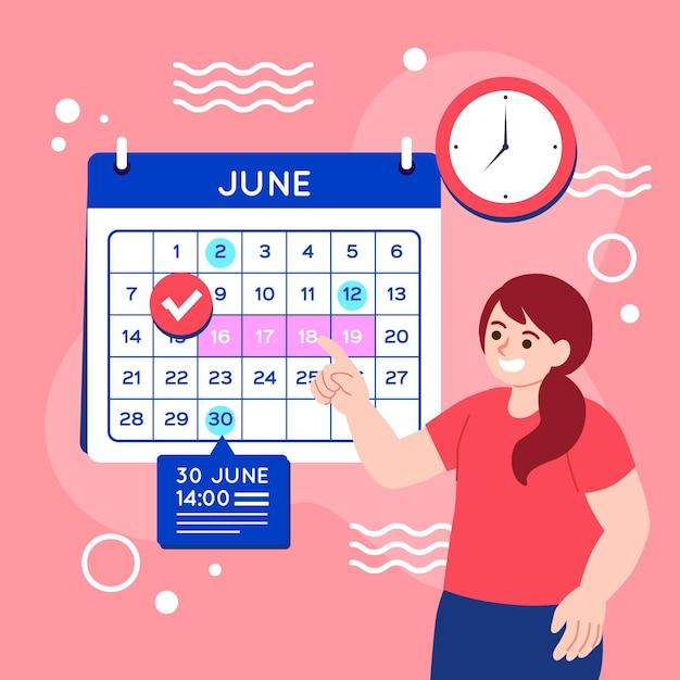 Запись на прием с календарем Бесплатные векторы