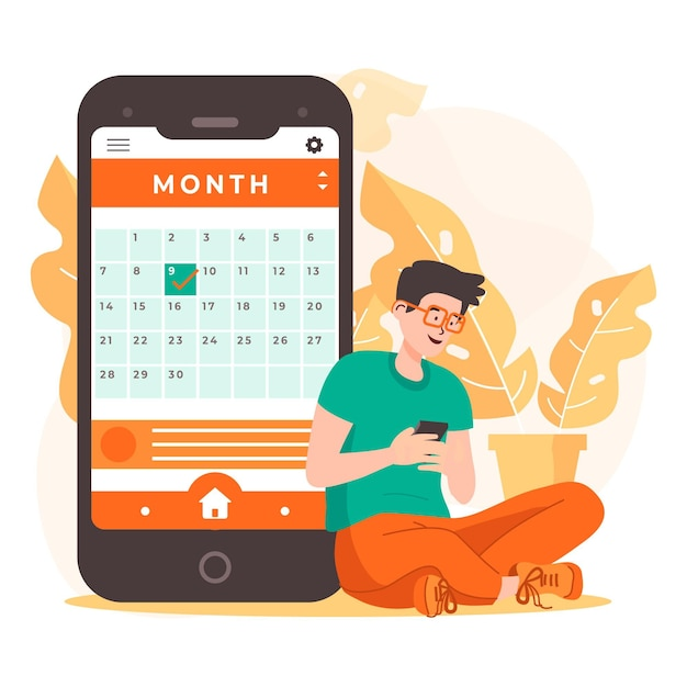Appointment booking with smartphone and man Free Vector