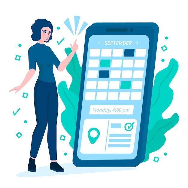 Prenotazione appuntamento con smartphone e donna Vettore gratuito