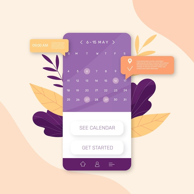 Appointment booking with smartphone Free Vector