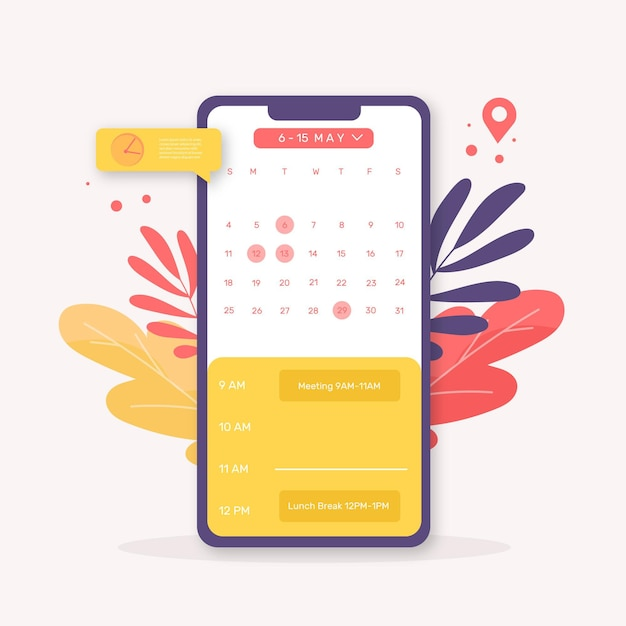 Appointment booking with smartphone Premium Vector