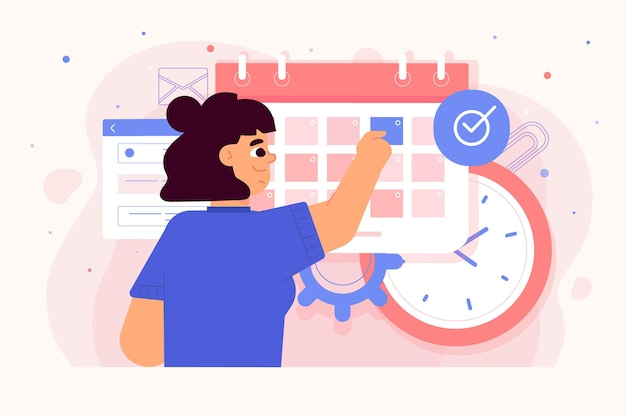 Appointment booking with woman checking calendar Free Vector