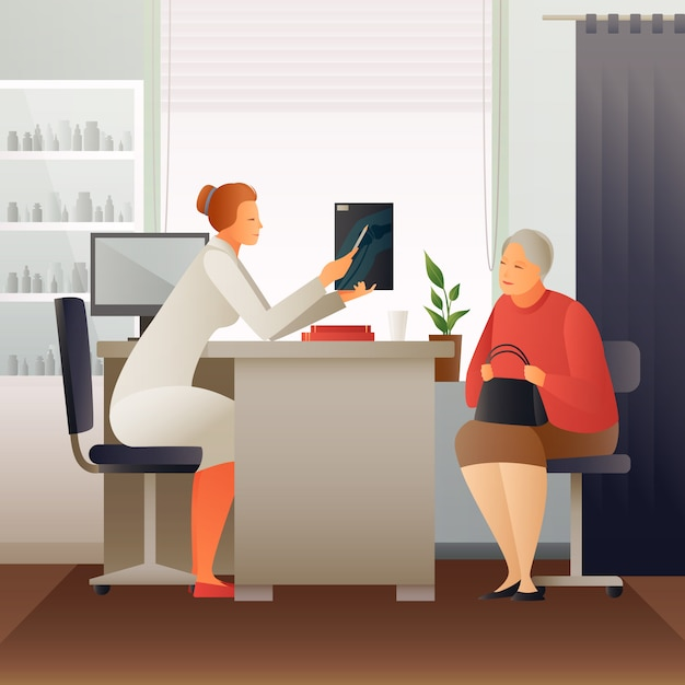 Appointment at therapist flat composition Free Vector