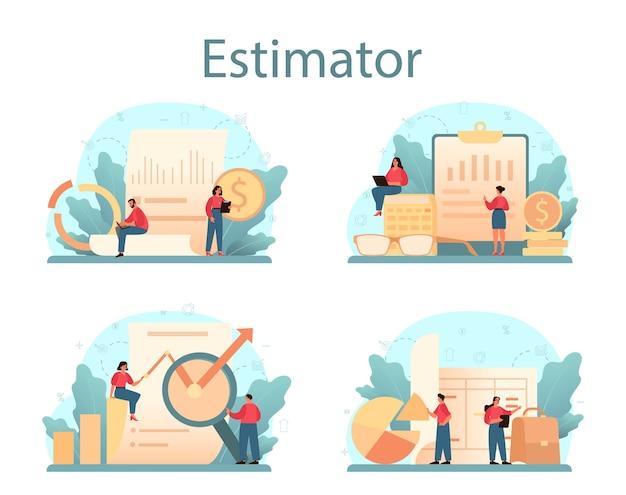 감정사, 금융 컨설턴트 세트. 감정 서비스, 자산 평가, 판매 및 구매. 프리미엄 벡터
