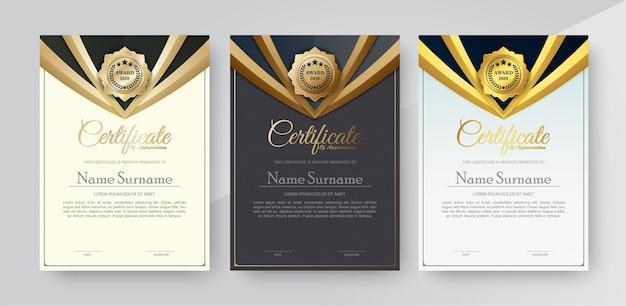 感謝状の最高の賞の卒業証書セット。 Premiumベクター