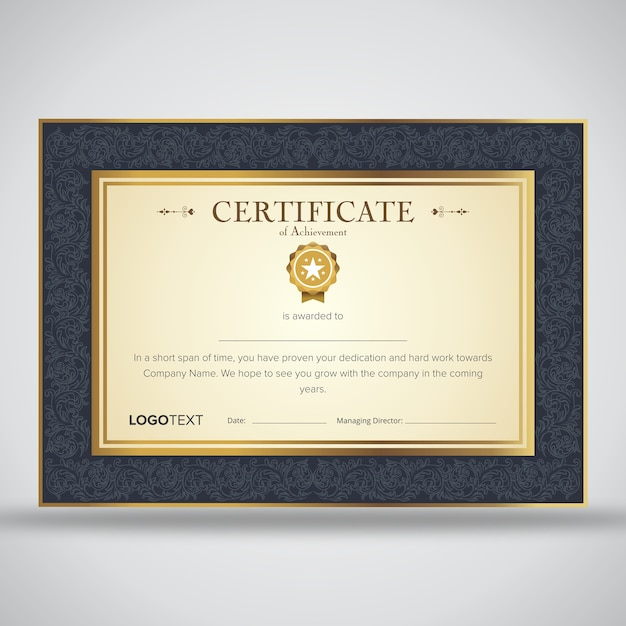 appreciation certificate templates with ornament background vector