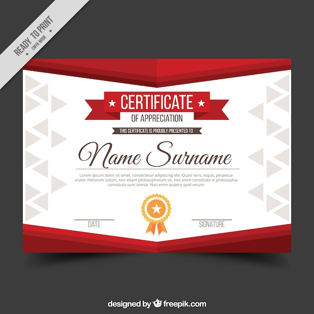 Appreciation Diploma With Red Shapes Vector Free Download