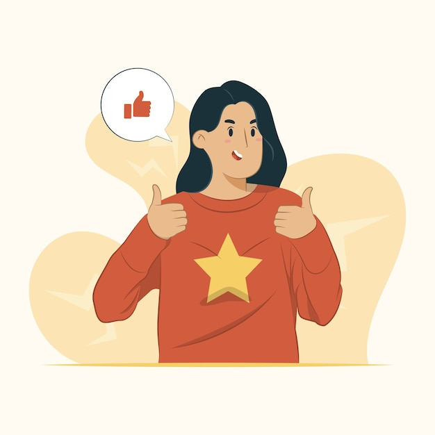 Approval concept cheer gesture illustration Premium Vector
