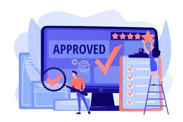 Marchio di approvazione. vantaggio del prodotto. valutazione e recensioni. requisiti per soddisfare Vettore gratuito