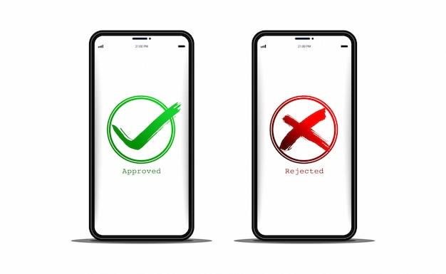 スマートフォンでの承認と拒否 Premiumベクター