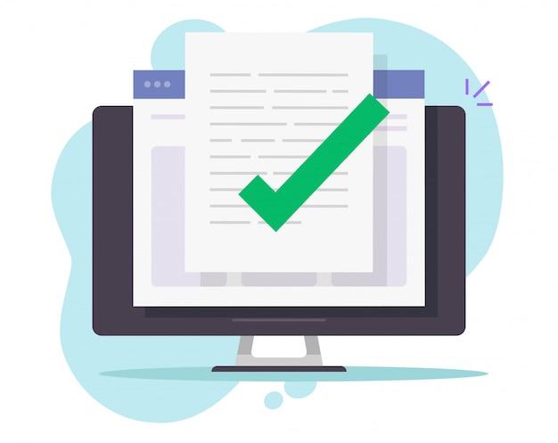 デスクトップコンピューターで承認された確認済みドキュメントファイルのオンラインチェック Premiumベクター