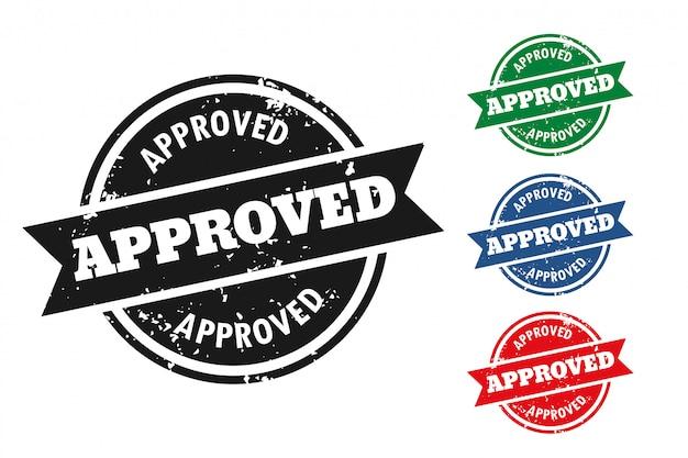 4つの承認されたグランジスタイルスタンプセット 無料ベクター