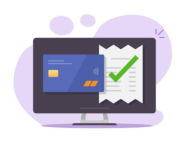 승인 된 결제 청구서는 데스크톱 컴퓨터에서 은행 신용 카드를 통해 확인 된 유효한 확인 프리미엄 벡터