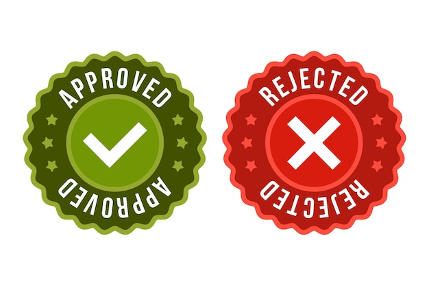 Approved and rejected label sticker icon Premium Vector