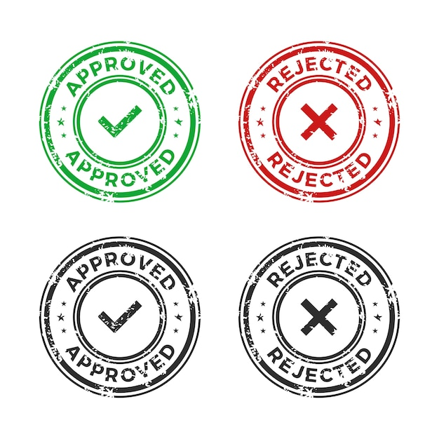 Approved and rejected stamp Premium Vector