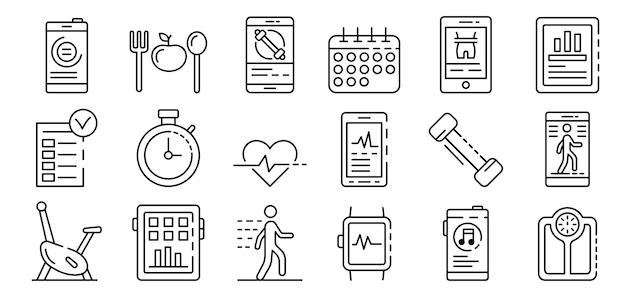 Apps for fitness icons set, outline style Premium Vector