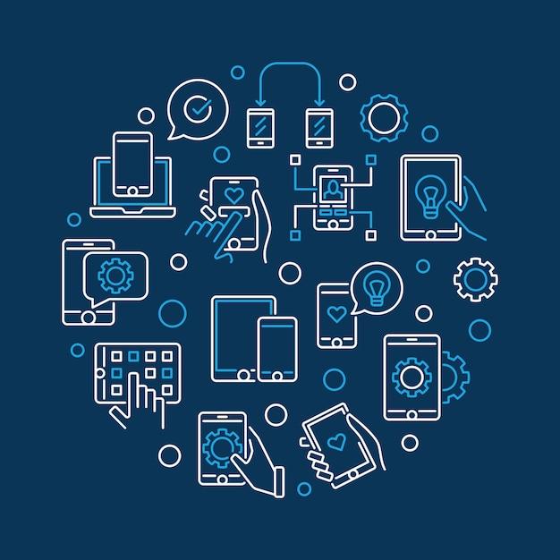 Apps and mobile app development vector round line illustration Premium Vector