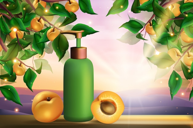 アプリコット化粧品スキンケア商品イラスト。 Premiumベクター
